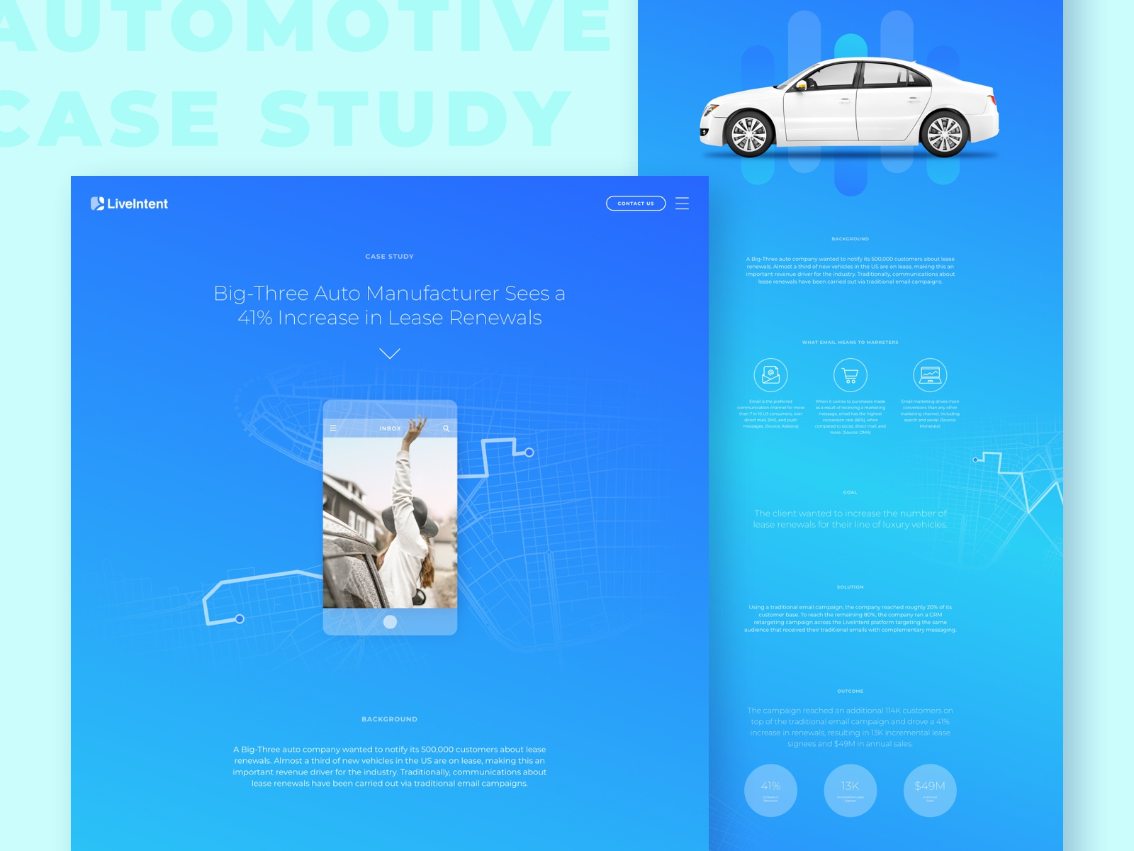 Automotive Case Study blue digital device ux ui gradient web design web marketing car case study automotive