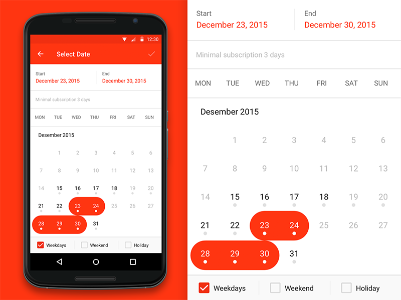 Date range picker android