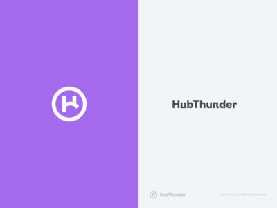 HubThunder - Logo circular phone telecom storage h cloud call center startup app branding logo