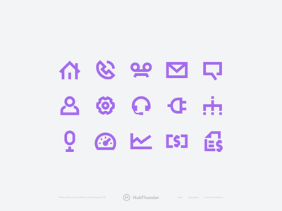HubThunder - Custom icons purple call phone telecom icon kit design startup app product icons