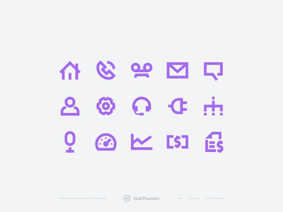 HubThunder - Custom icons purple call phone telecom icon kit design startup app product icons
