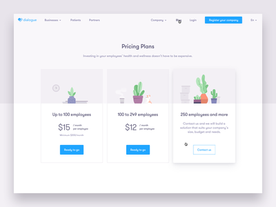 Dialogue Pricing saas plans cards plants illustration ui page pricing app dialogue