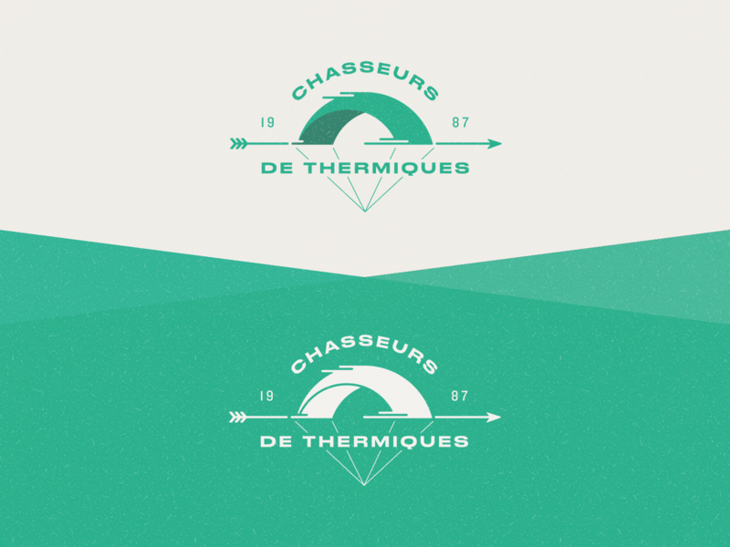 Chasseurs de thermiques logo branding green speed hunter hunt wind paragliding parachute typeface 40s war retro logo