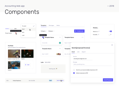 Accounting web app Components ux app template admin pattern symbols design system ui components
