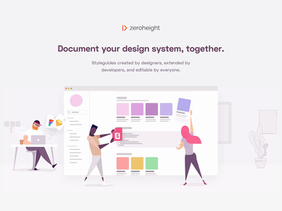 zeroheight landing page animation vector developers figma sketch design systems design system geometric product startup illustration