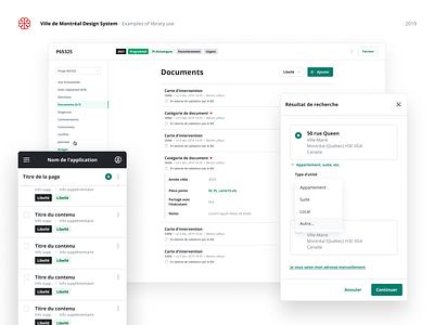 Ville de Montréal - Design system examples modal app design app admin desktop components ui design system