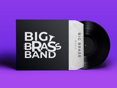Brass Band Logo vinyl record mockup logo design brass music band logo