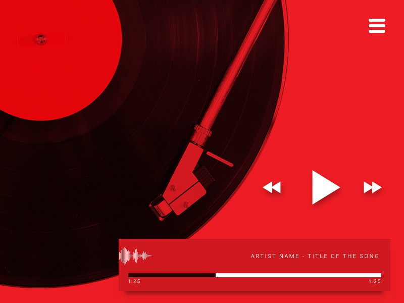 Ui009 - Music Player vinyl red player music musicplayer 009 dailyui