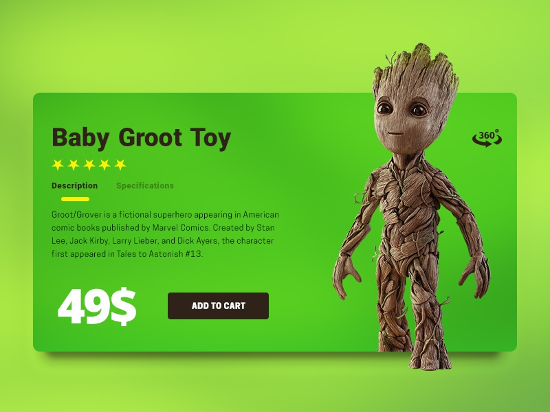 Ui012 - E-Commerce Shop (Single Item) toycheckout babygroot groot item e-commerce ecommerce 012 dailyui