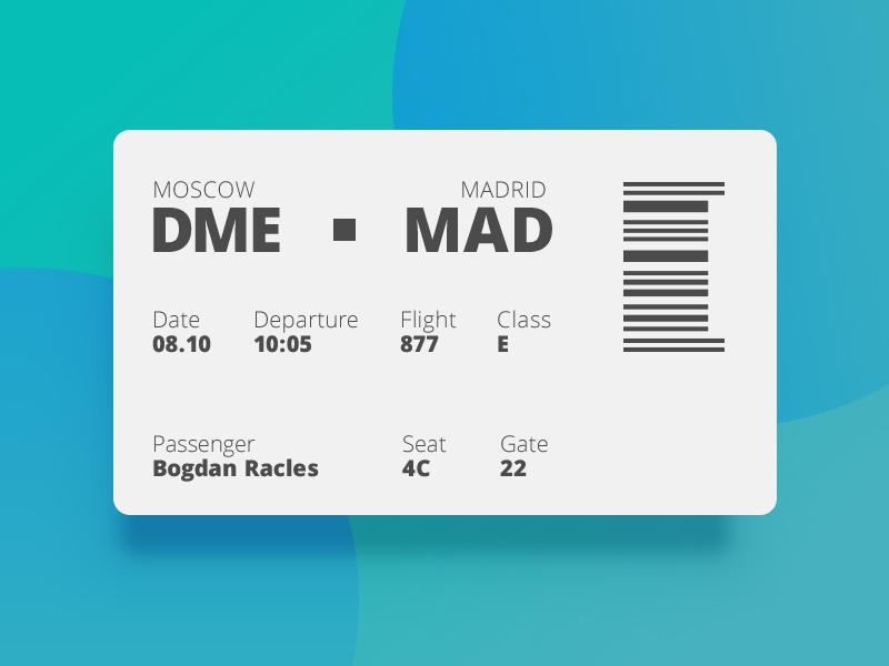 Ui024 - Boarding Pass pass boarding boardingpass 024 dailyui