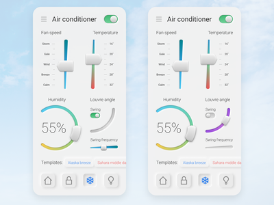 Air conditioning control screen on smartphone concept neomorphism control air conditioner mobile ui