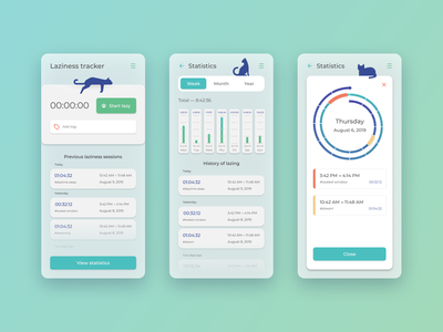 Laziness tracker concept humor concept mobile ui tracker lazy