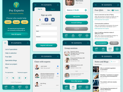 Psy-Experts. Psychological counseling service. counseling psychology ux application branding mobile concept ui