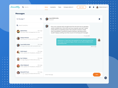 Chat/Messenger - Smoothly Web App chatting conversation message case study saas web app messaging chat design system user personas user flows wireframes interface web interface user interface user experience sketch sketchapp ux ui