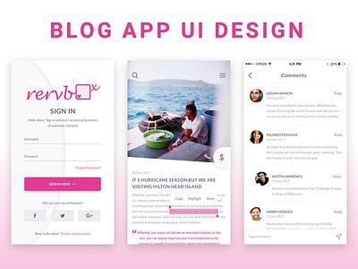 Blog Mobile App UI Design dribbble sketchapp sketch iphone ios material mobile blog ui ux psd