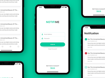 NOTIFIME Mobile App Design concept mockup interface ux ui iphone x mobile ios sketch sketchapp chatbot