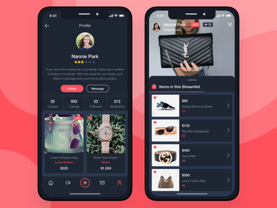 Profile Screen & Live Streaming streaming stream live profile shopping ecommerce iphone user interface user experience mobile sketch ios sketchapp ux ui