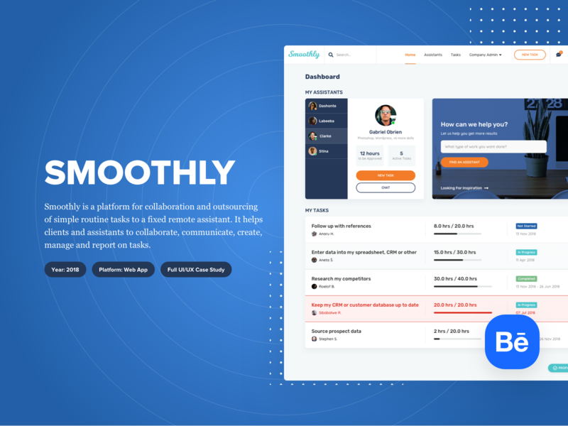 Smoothly - Behance Case Study debuts debut ui design prototype wireframes user flows user personas design system web app web app design saas design dashboard user interface user experience ux ui case study behance