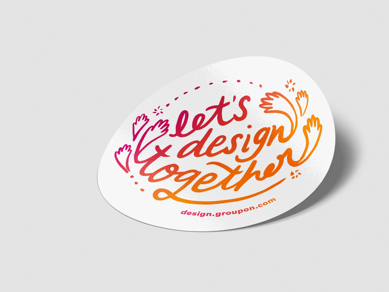 Let's design together! branding typography design product ux figma groupon stickers