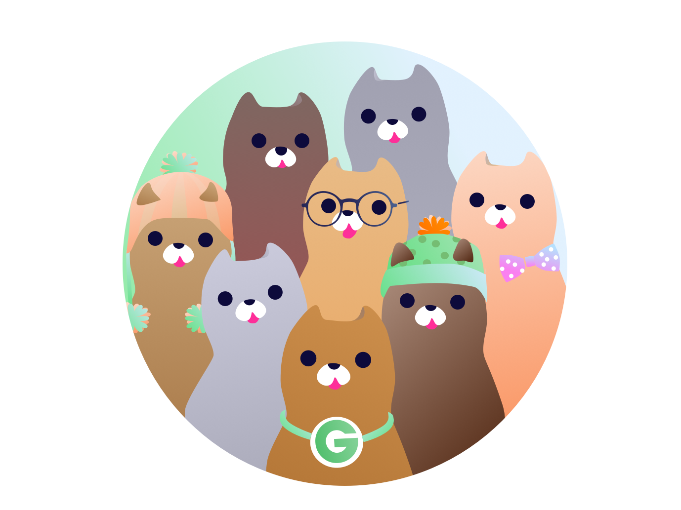 The Groupon Fam - A Portrait groupon cat design branding illustration