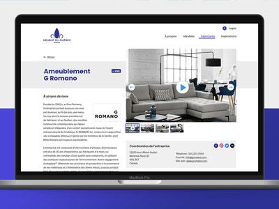 Website Meubles du Québec blue website design