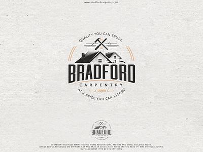 Bradford Carpentry logo vintage design vintage logo carpenter woodcutter logodesign logo carpentry