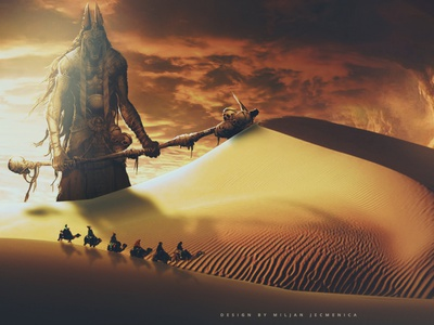 Anubis Egyptian god of the dead photoediting death camels desert photomanipulation god of death anubis