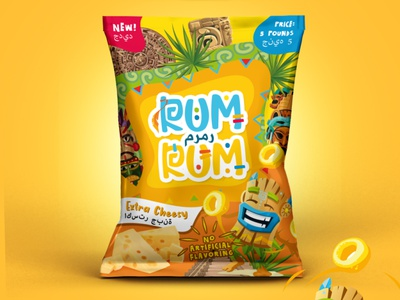 RUM RUM Snack Mayan theme package design package pouch mockup snack bag colorful package cheese snacks chips bag design chips snack pouch package design snack pack mayan