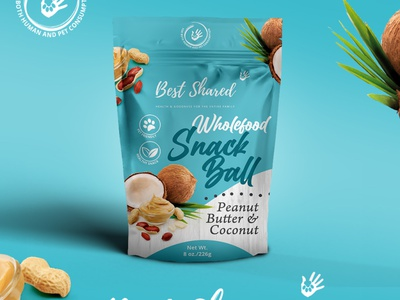 Snack Ball pouch design package snack package snacks dog treats pet food peanut butter coconut pouch design pouch mockup package design