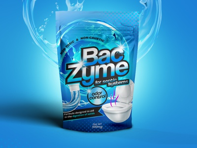 BacZym septic system control odor control stand up pouch pouch design pouch package design solids septic cleaner septic formula septic system