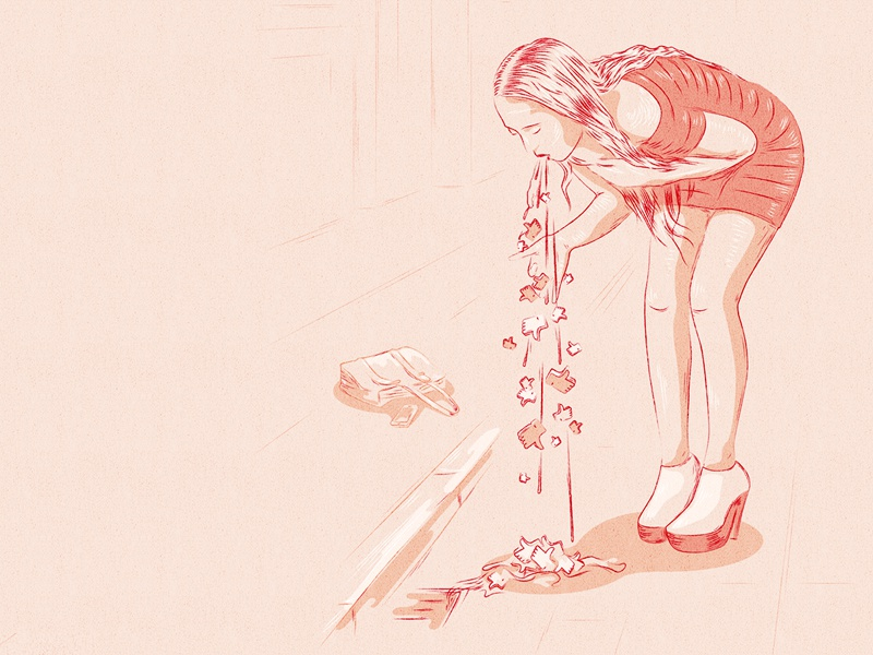 Social Hangover likes bag dress red girl illustration hangover social