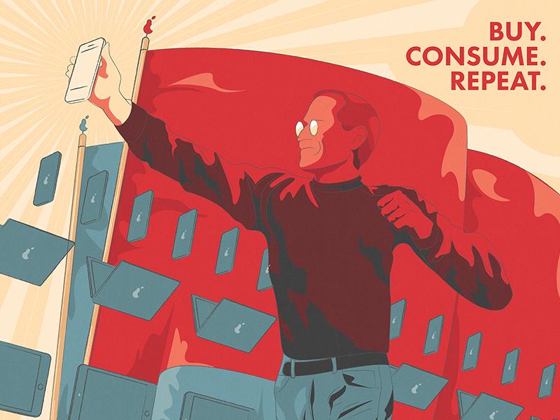 Consumerism shit more buy retro flag smartphone propaganda poster