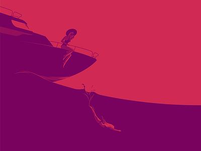 Jump sunset ocean swim girl yacht boat red sea