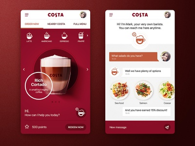 Costa app layout iterface cafe coffee mobile design ui app