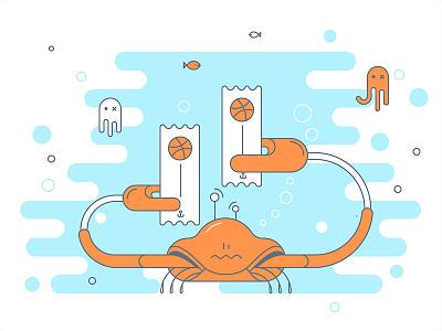 Crab your invite bubbles jelly dribbble two fish sea crab invite