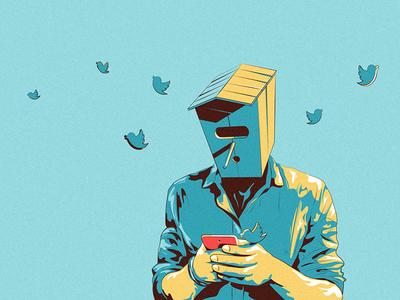 Birdman fly head phone social twitter man bird