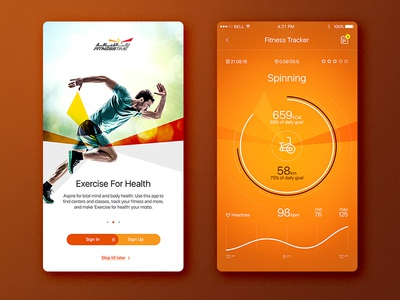 Fitness App tracker chart orange spinning mobile app workout fitness