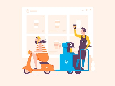 Online Coffee Shop shop coffee man barista roller vespa latte browser hipster illustration