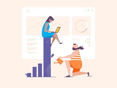 Fintech site window water laptop beard grow chart finances man flat girl illustration