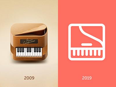 #10yearschallenge coral app 2019 2009 skeuomorph flat icons companion piano 10yearschallenge