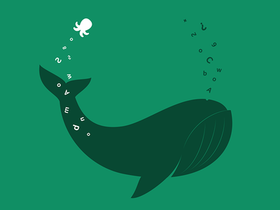 Less is more minimal letters green octopus whale