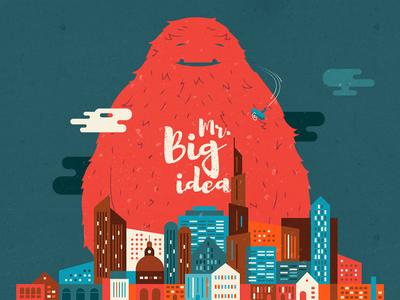 Mr. Big Idea flat illustration yeti burj clouds plane towers city red monster dubai big