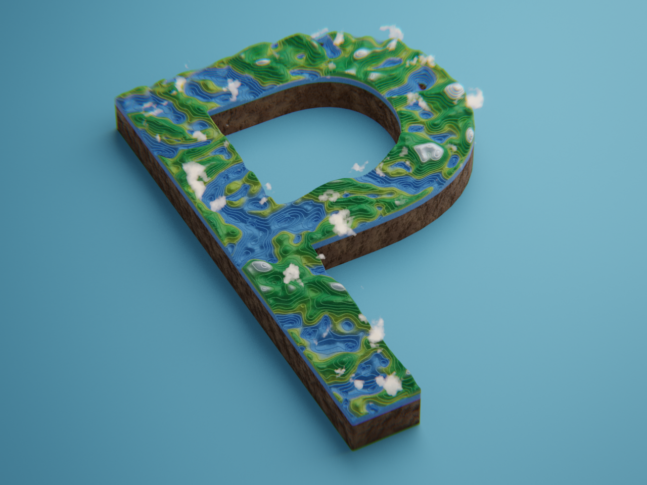 P - 36 Days of Type tiny earth planet abstract design 36 days of type type cycles blender 3d