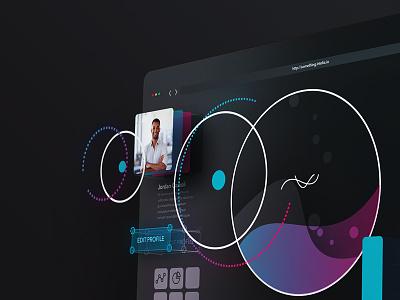 Experimental 🖥 04/40 : Futuristic Desktop thing wip ui gradients colors futuristic dashboard experimental extrude web header landing 3d