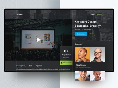 Event Streaming App app event video live streaming dark ux ui web
