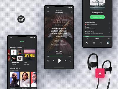 Invision Studio Freebie - Spotify Concept invision studio ios iphonex spotify music player prototype ui ux
