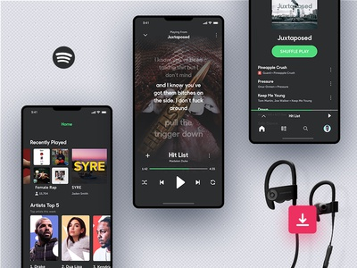 Invision Studio Freebie - Spotify Concept invision studio ios iphonex spotify music player prototype ui ux