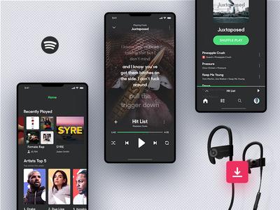 Invision Studio Freebie - Spotify Concept