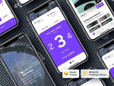SPACED Challenge Winner - Freebie bitcoin sketch ux ui ios spacedchallenge iphone x iphonex freebie