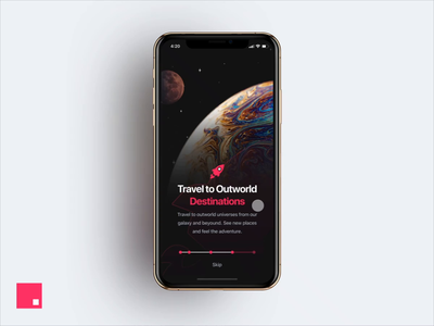 InVision Studio - Spaced App Onboarding ios futuristic modern spacedchallenge carousel iphone x ui ux invisionstudio invision studio gif mobile iphone xs interaction